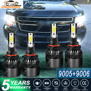 9005 9006 LED Headlights Kit For Chevy Avalanche 1500 2500 2002-2006 Combo Bulbs