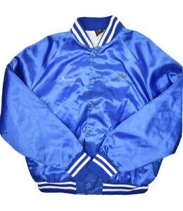 Vintage Aristo Jac Satin Bomber Jacket Mens XL USA Made Blue Embroidered Name