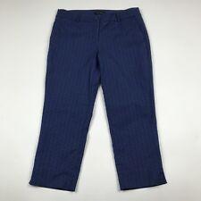 Hilary Radley Women's Cropped Capri Pants Size 8 Blue Y Pattern Career