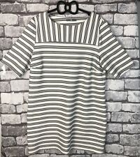 Ladies BHS Black and White Striped Dress Tunic Plus Size 18 Party Occasion