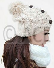 Womens Chunky Cable Knit Knitted Winter Hats Warm Button Cream Beanie Hat