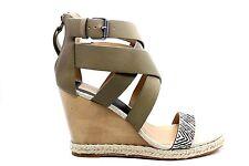 Dolce Vita Womens Kova Wedge Sandal Olive Cross Leather Espadrille Size 7.5