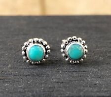 Sterling Silver Turquoise Stud Earrings, Blue Green, Turquoise Stone, Minimalist