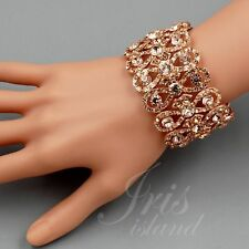 ROSE GOLD Plated Peach Crystal Rhinestone Wedding Bangle Cuff Stretch Bracelet 9