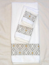 Bath Hand Towel Wash Cloth Black White Shiny Gold Diamond Everyday 3 Pc Set