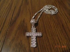 MIP- Silver tone colored cross pendant w/ stones,matching 28 inch chain
