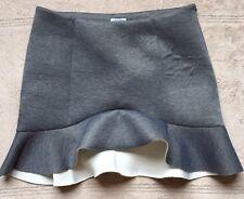 Tobi Gray Scuba Asymmetrical Hem Mini Skirt, Size Medium, Smokey Gray
