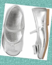 "NWT Girls 7 Gymboree ""CENTER STAGE"" SILVER faux METALLIC BOW slip-on FLATS SHOES"