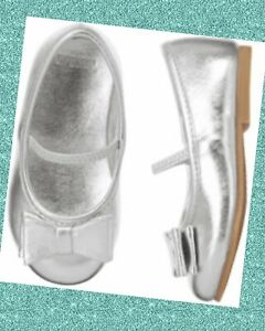 """NWT Girls 7 Gymboree """"CENTER STAGE"""" SILVER faux METALLIC BOW slip-on FLATS SHOES"""