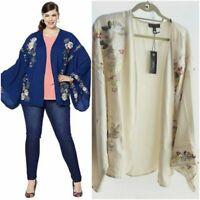 DG2 by Diane Gilman Plus Size 1X-2X Embroidered Kimono Jacket Col Oat  645041