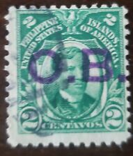 Philippines stamp , hand stamped bold  OB on 2 centavos  used never hinged,