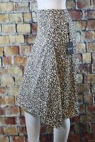 NWT DKNY Satin Ruffle Skirt Black and Camel Sz 8 $79  ~BQ1