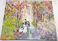 Original Abstract Family Outing Acrylic Canvass Painting Patricia May Clark