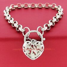 Women Real Solid 18k White Gold GF Belcher Chain Bolt Ring Clasp Bracelet Bangle