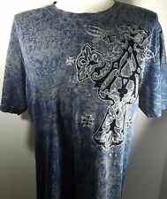 Archaic by Affliction Men's Blue/Gray Short Sleeve Graphic T-Shirt Size-Large