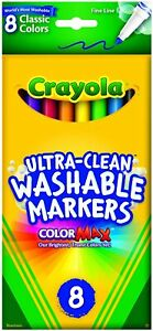 Crayola Ultra Clean Washable Markers, 8-Count Fine Line Markers, Home School Art