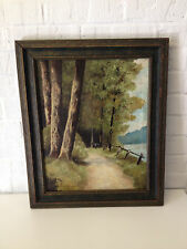 Antique 1925 Nell Choate Jones Signed Oil Painting of Roadway in Landscape
