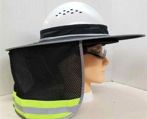 Black Hard Hat Sun Shade Visor Full Brim Mesh Neck HI VIS REFLECTIVE STRIPE
