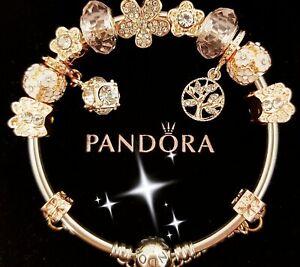 Pandora Silver Bracelet with Rose Gold Love Heart European Charms Size XS 18cm