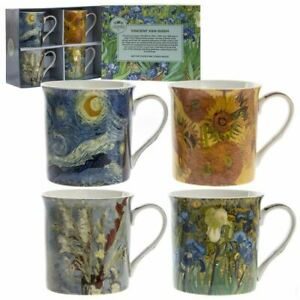 OFFICIAL VINTAGE STYLE VINCENT VAN GOGH ART SET OF 4 COFFEE MUG CUPS NEW IN GIFT