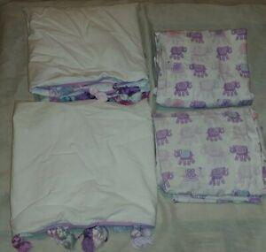 4 pc Pottery Barn Kids STELLA Purple Pink Elephant 2 Pillowcases 2 Tassel Shams
