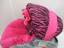 NEW ZEBRA & HOT PINK MINKY CAR SEAT COVER&CANOPY/Graco fit-plus most brands