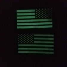 REFLECT IR GLOW USA US AMERICAN FLAG REVERSE LEFT RIGHT SHOULDER 2 HOOK PATCHES