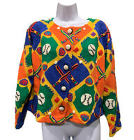 Michael Simon Baseball Multicolor Cardigan Womens Med Sweater Embroidered DS