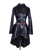 Valentina Black Ladies Military Corset Style Designer Real Leather Flare Coat