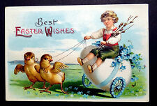 Boy on Giant Egg Pulled by Chicks FANTASY c1910 Clapsaddle Easter Postcard