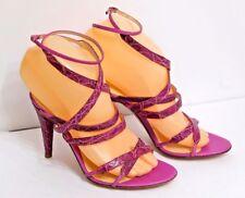 EUC Sergio Rossi Women's EU 36 US 5.5 Magenta Moc Croc Patent Leather Heels $445