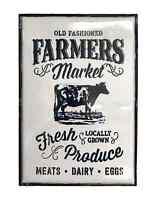 Cow Farmers Market Sign White Enamel Metal