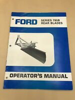Ford New Holland Series 785B Rear Blades Operator's Manual Owners Service Book