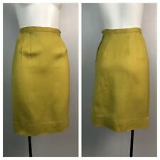 Vintage 1950s 1960s Golden Yellow Semi Sheer Rayon High Waist Pencil Skirt XS