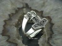 Silberring Silber Ring 925 Thors HAMMER Eule Mjölnir Keltischer Knoten Celtic