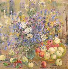 Vera Barinova-Kuleba Wildflowers signed oil on canvas frame 1989 Ukraine flowers