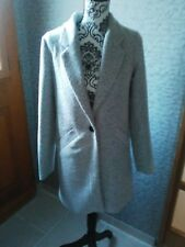 Elégant manteau tweed Tally Weijl 36 gris clair chiné chevrons NEUF trench mode
