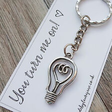 'You turn me on!' Anniversary gift keyring -wife, girlfriend, husband, boyfriend