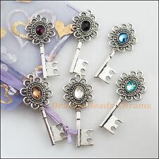 6Pcs Tibetan Silver Mixed Crystal KEY Flower Charms Pendants 20x49mm
