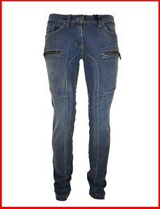Jeans pantaloni da donna in elasticizzati a vita bassa gamba dritta 40 42 44 46