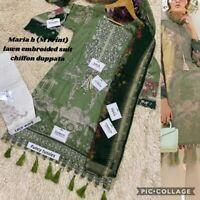 Maria B Designer Pakistani Salwar/shalwar Kameez  Lawn Chiffon Dupatta Eid 2020