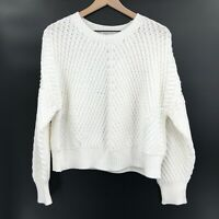 NWT Vince Directional Ribbed Sweater white chunky knit pullover cozy warm crop L