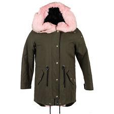 Moose Knuckles Steller Canvas Parka Olive W Pink Fur Women Large Coat/Jacket