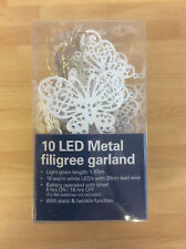 Noma 10 White Metal Filigree Butterfly LED Battery Fairy Lights, Warm White