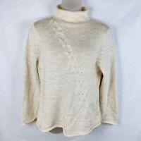 Coldwater Creek women Size XL Cream Mock Turtleneck Sweater