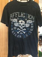 Affliction Size Large Graphic Tee T Shirt Blue Mens Skull Cross Bones Customs