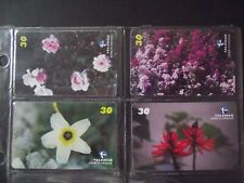 FLOWERED 2001 Set of 4 Different Phone Cards from Brazil