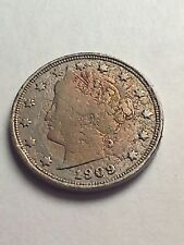 Vintage 1909 Liberty Head V Nickel Us Classic Coin      ( S-W-D-1-)