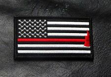 Fire Fighter Thin Red Line AXE usa Flag 3.5 inch HOOK LOOP PATCH