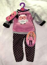 "My Life AG Clothes Purple OWL Polka Dot PAJAMAS Set PJ's 18"" Girl Doll NEW"